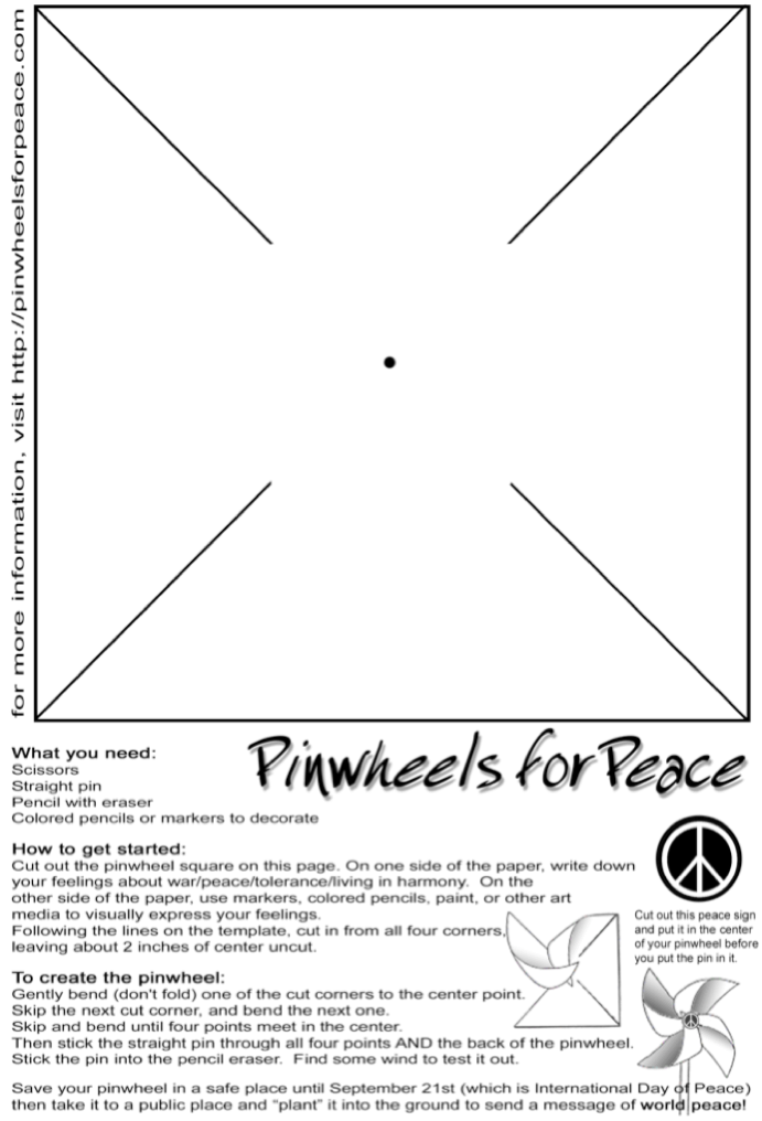 To create your own pinwheel, follow these directions   to print